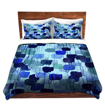 DOTTY IN BLUE Art Polka Dots Duvet Cover King Queen Twin Turquoise Navy Indigo Royal Blue Decor Bedding Floral Abstract Colorful Bedroom
