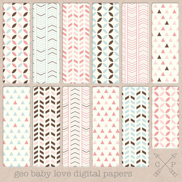 Baby Colors Geometric Digital Paper Pack. Geometric patterns, chevrons, triangles for scrapbooking, graphic design, blog backgrounds etc
