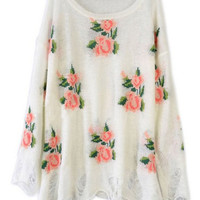 ROMWE | Floral Printed White Irregular Sweater, The Latest Street Fashion