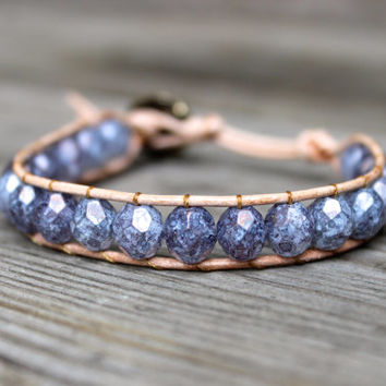 Beaded Leather Single Wrap Stackable Bracelet with Purple Lilac Czech Glass Beads on Natural Genuine Tan Leather