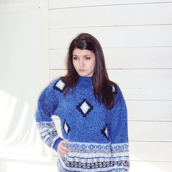 Tribal Knit Sweater S,M / Royal Blue Oversize Sweater S, M / Geometric Print Sweater / Fair Isle Sweater /