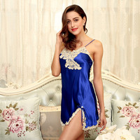 Summer Ladies Plus Size Nightdress Silk Satin Nightgown Lace Sleepwear For Women