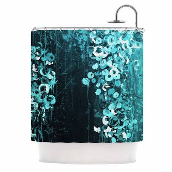 "Ebi Emporium ""THE DARK GARDEN 3"" Teal Black Abstract Floral Painting Mixed Media Shower Curtain"