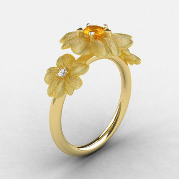 14K Yellow Gold Citrine Diamond Flower Wedding Ring, Engagement Ring NN107-14KYGDCI