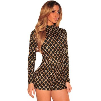 Sexy Black and Gold Sequin Long Sleeve Turtleneck Rompers ]