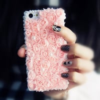3D Flower +Lace iPhone 5C Case (Baby Pink)