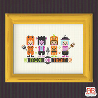 Halloween cross stitch pattern - Trick OR Treat - Xstitch Instant download - Spooky Devil Happy Frankenstein Funny Pumpkin Cute Witch Horror