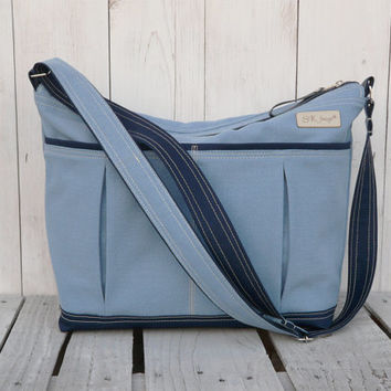 Diaper bag Aqua blue Weekender bag, Gym bag Overnight bag, Travel bag Yoga bag