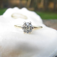 Fine Quality Vintage Jabel Diamond Solitaire Engagement Ring - approx .56 ct Old European Cut Diamond - Simple and Elegant