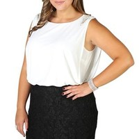 plus size, two tone glitter lace blouson dress with shoulder accents