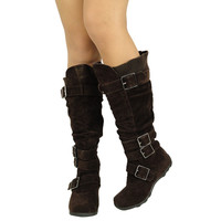 Womens Knee High BootsRuched Leather BucklesKnitted Calf Brown