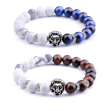 Fashion Lion Head Buddha Bracelet Natural Tiger Eye Beads Bracelets for Men Fashion Male Punk Jewelry Bracelets & Bangles
