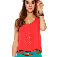 Papaya Clothing Online :: HIGH-LOW BUTTOP UP TANK