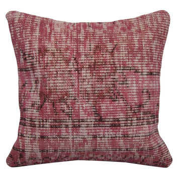 "Pink Handmade Overdyed Rug Pillow 16""x16"""