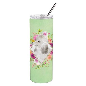 White Standard Poodle Green Flowers Double Walled Stainless Steel 20 oz Skinny Tumbler CK4360TBL20