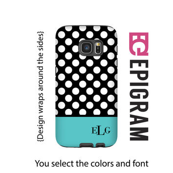 Monogram Galaxy S7 tough case, polka dot Galaxy case with aqua, 3D S6 Edge case, S6 case, Galaxy Note 5 case, custom Galaxy cases