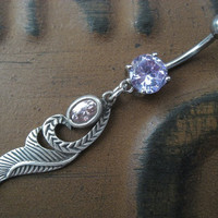 Purple Sterling Silver 925- Amethyst Crystal Charm Dangle Navel Piercing Belly Button Ring Jewelry