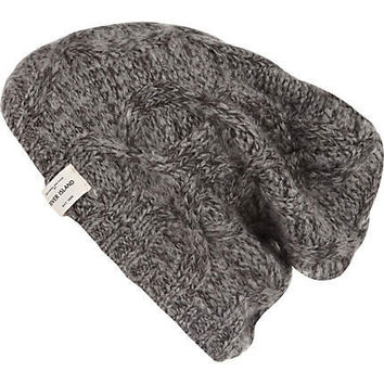 Grey cable knit beanie - hats - accessories - men