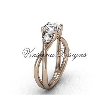 "Unique 14kt rose gold Three stone engagement ring, ""Forever One"" Moissanite VD8212"