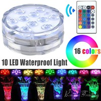 10 LED Remote Controlled RGB Submersible Battery Operated Underwater Lights