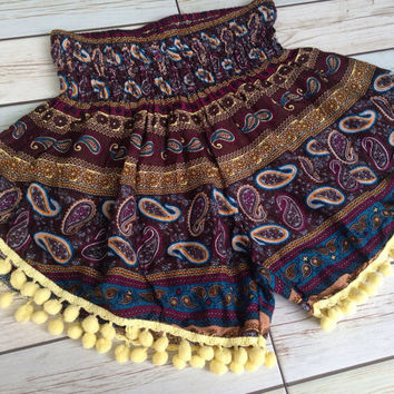 High waisted Pom pom Shorts Paisley Print Boho Summer Chic Fashion Tribal Aztec Ethnic Clothing Bohemian Ikat Cloth pompom Yellow Cute Comfy