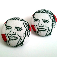 Barack Obama red and white stripes black and white fabric button earrings