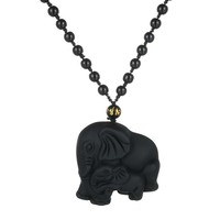 Mother & Baby Elephant Necklace - Handmade Beads Obsidian