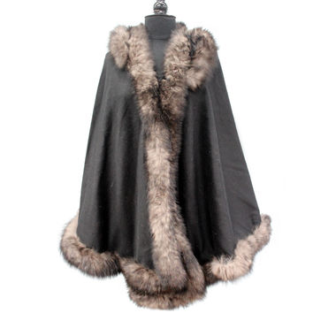 Black Solid Cape with Tonal Fox Fur Trim and Hood