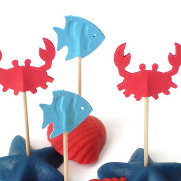 24 Sea Life Blue Fish Red Crab Cupcake Toppers Party by BelowBlink