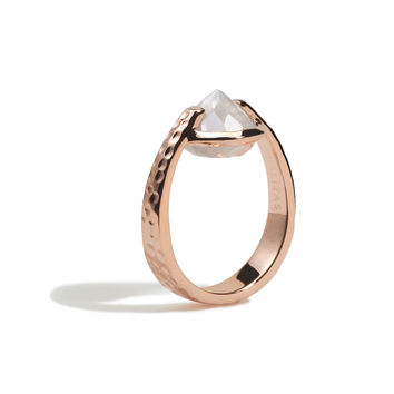 Spirituality - 6 Ct Rainbow Moonstone Hammered Rose Gold Ring