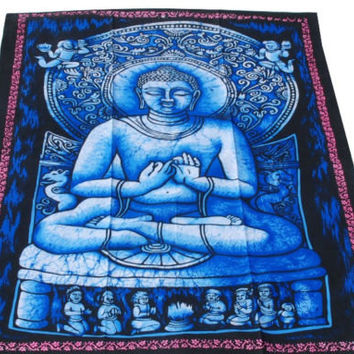 Indian Buddha Batik Tapestry Wall Hanging Ethnic India Home Decor Vintage Art @235 Hand Batik print