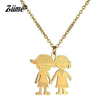 Ziime 2018 Cute Girl Boy Necklace Kids Jewelry Chians Lovely Gold Color Stainless Steel Family Baby Pendant Necklaces For Child
