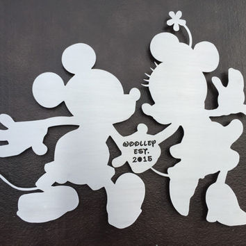 Mickey and Minnie Disney Metal Wall Art - Disney Art - Personalized Sign - Disney Lovers - Mickey Mouse - Minnie Mouse