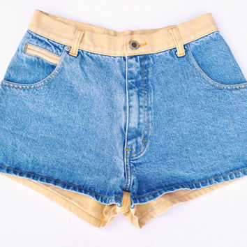 Vintage 90s High Waisted Two-Tone Denim Shorts Size 27.5
