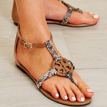 Toe Ring Ankle Strap Flat Sandals
