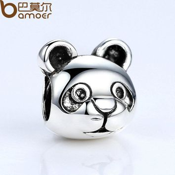 Authentic Silver Color Cute Panda Pattern Animal European Charms for Bead Bracelets DIY Accessories PA5291