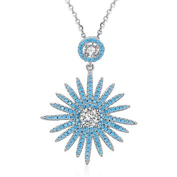 Womens .925 Silver Necklace Sunflower Zircon Fashion Trend Necklace