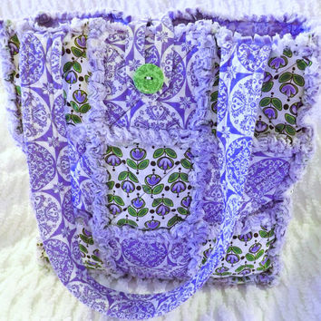 Rag Quilt Tote, Purple and Green, Floral, Perfect for Spring