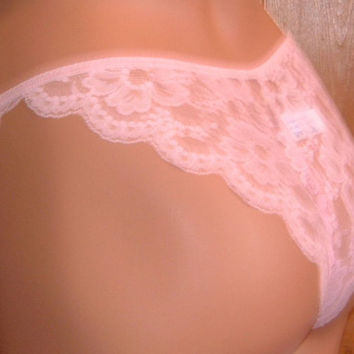 vintage 70's pink string nylon lace panties by Janine