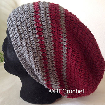 Men's XL Beanie | Burgundy and Gray | Man Hat | Men's Slouchy Beanie | Dark Red | Grey | Adult Crochet Hat
