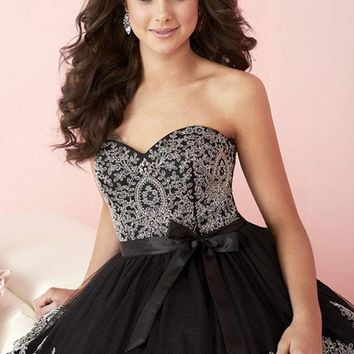 Tiffany Homecoming - 27079 Strapless Sweetheart Lace and Tulle Prom Dress