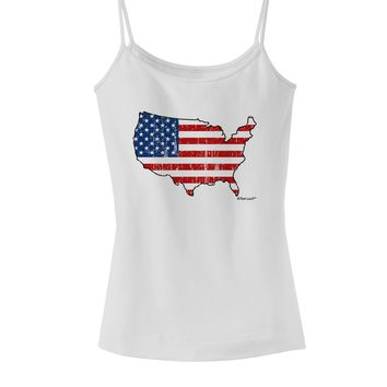 United States Cutout - American Flag Distressed Spaghetti Strap Tank  by TooLoud