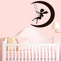 Wall Decal Vinyl Sticker Peter Pan Moon Fairy Night Fairytale Cartoon V193