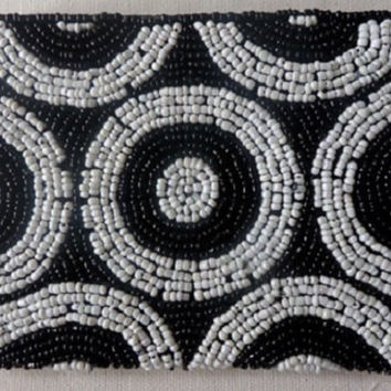 Womens Black & White Beaded Purse with Circle Design, Beadwork Purse, Handmade Purses, Clutch Bag,