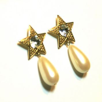 Rhinestone Star and Faux Pearl Dangle Earrings Gold Tone Avon