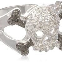 Sterling Silver Diamond Skull Ring (1/10 cttw, I-J Color, I2-I3 Clarity)
