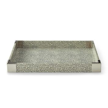 Leopard Printed Paper and Metal Tray
