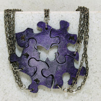 Best friend necklaces Set of 5 puzzle piece necklaces Purple and Pearl with butterfly cut outs