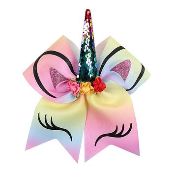 Sequin Unicorn Cheer Bows With Rubber Band Girls Large Glitter Ponytail Hair Bows Hair Accessories / 30 color choices