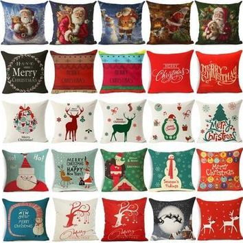 "18"" Cotton Linen Decorative Pillow Case Christmas Pattern Cushion Cover Sofa Square Waist Pillow Cover [9305917191]"